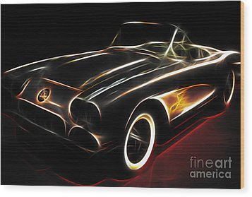 Vintage 1956 Corvette Wood Print by Wingsdomain Art and Photography