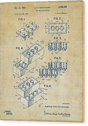 Vintage 1961 Toy Building Brick Patent Art Wood Print by Nikki Marie Smith