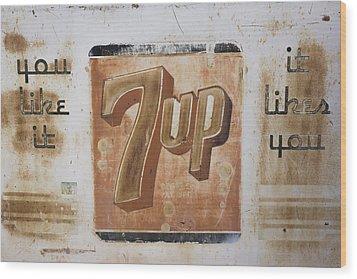 Vintage 7 Up Sign Wood Print