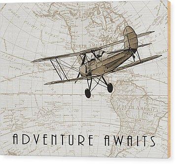 Vintage Adventure Wood Print by Delphimages Photo Creations