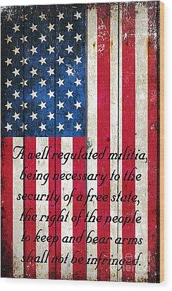 Vintage American Flag And 2nd Amendment On Old Wood Planks Wood Print