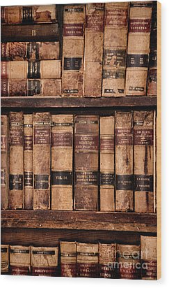 Wood Print featuring the photograph Vintage American Law Books by Jill Battaglia
