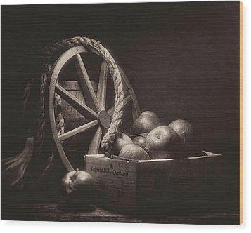 Wood Print featuring the photograph Vintage Apple Basket Still Life by Tom Mc Nemar