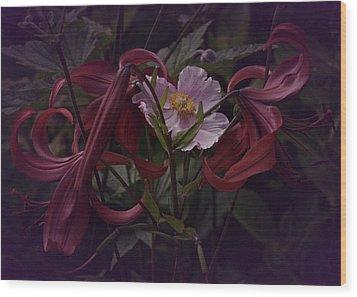 Vintage Asiatic Lilies  Wood Print