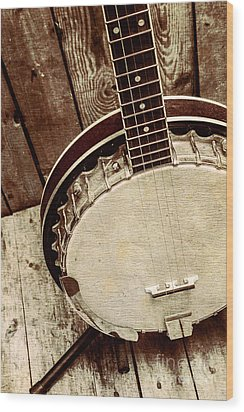 Vintage Banjo Barn Dance Wood Print