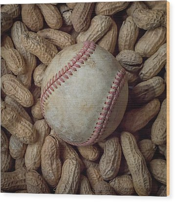 Wood Print featuring the photograph Vintage Baseball And Peanuts Square by Terry DeLuco