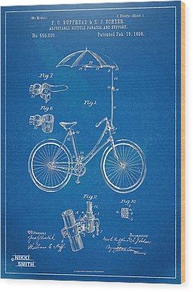 Vintage Bicycle Parasol Patent Artwork 1896 Wood Print by Nikki Marie Smith