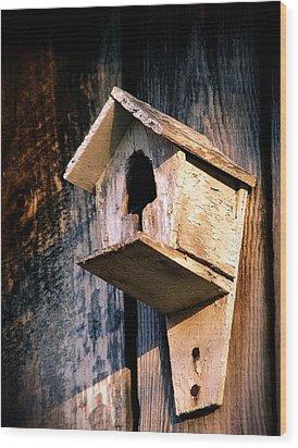Vintage Birdhouse Wood Print by Jen McKnight