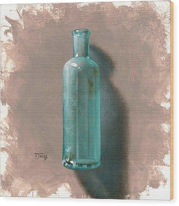 Vintage Blue Bottle Wood Print by Timothy Jones