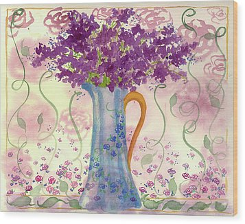 Wood Print featuring the painting Vintage Blue Flower Bouquet by Cathie Richardson