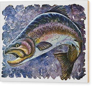 Vintage Blue Trout Fresco  Wood Print