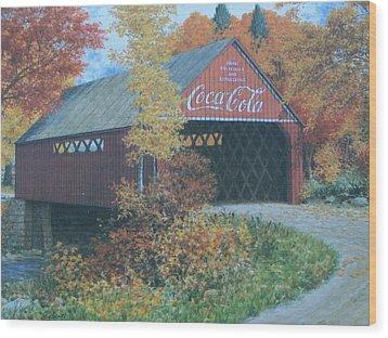 Vintage Bridge American Coca Cola Wood Print