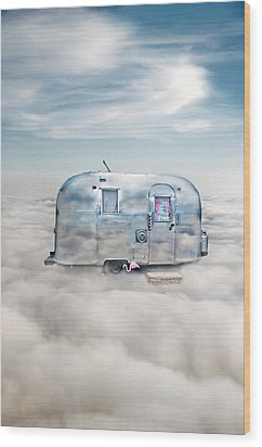 Vintage Camping Trailer In The Clouds Wood Print by Jill Battaglia