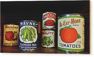 Vintage Canned Vegetables Wood Print