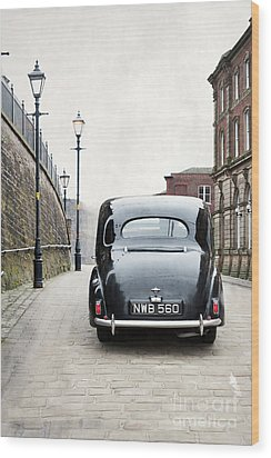 Vintage Car On A Cobbled Street Wood Print