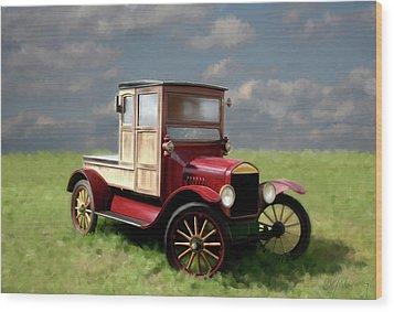 Vintage Car Painting Wood Print by Michael Greenaway