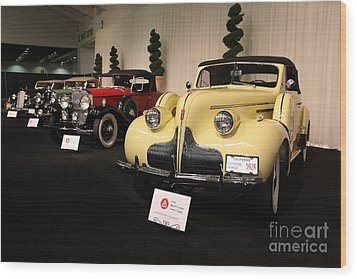 Vintage Car Row Wood Print by Wingsdomain Art and Photography