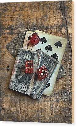 Vintage Cards Dice And Cash Wood Print by Jill Battaglia