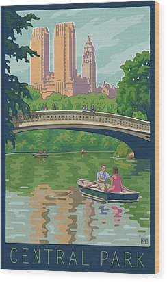 Vintage Central Park Wood Print by Mitch Frey