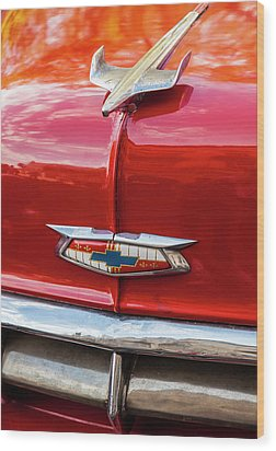 Wood Print featuring the photograph Vintage Chevy Hood Ornament Havana Cuba by Charles Harden