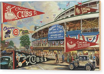 Vintage Chicago Cubs Wood Print