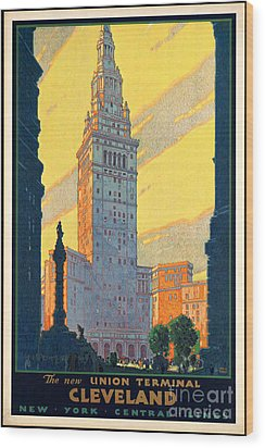Vintage Cleveland Travel Poster Wood Print by George Pedro