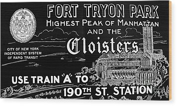 Vintage Cloisters And Fort Tryon Park Poster Wood Print by Cole Thompson