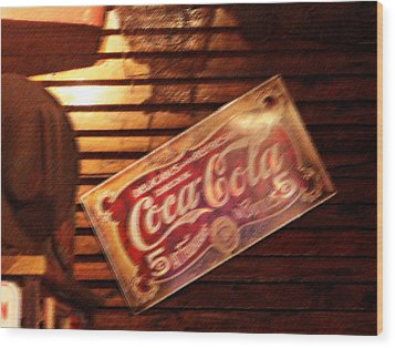 Vintage Coca Cola Sign Wood Print by Linda Phelps