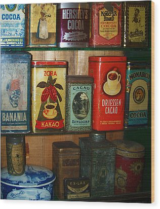 Vintage Cocoa Containers Wood Print by Turtle Caps