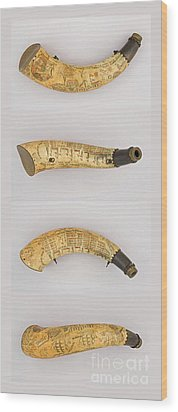 Wood Print featuring the photograph Vintage 1767 Colonial American Powder Horn Four Views by John Stephens