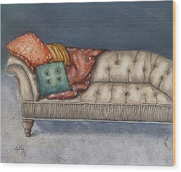 Wood Print featuring the painting Vintage Comfy Couch by Kelly Mills