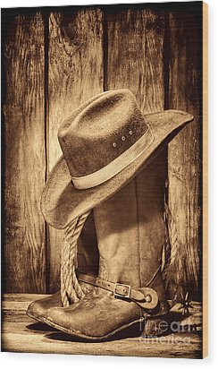 Vintage Cowboy Boots Wood Print