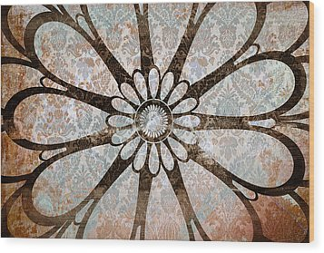 Vintage Damask Floral Abstract Wood Print by Frank Tschakert