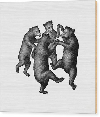 Vintage Dancing Bears Wood Print