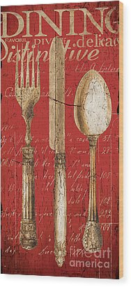 Vintage Dining Utensils In Red Wood Print by Grace Pullen