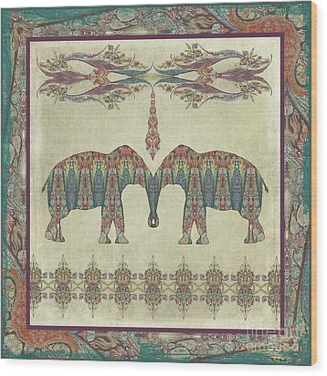 Wood Print featuring the painting Vintage Elephants Kashmir Paisley Shawl Pattern Artwork by Audrey Jeanne Roberts