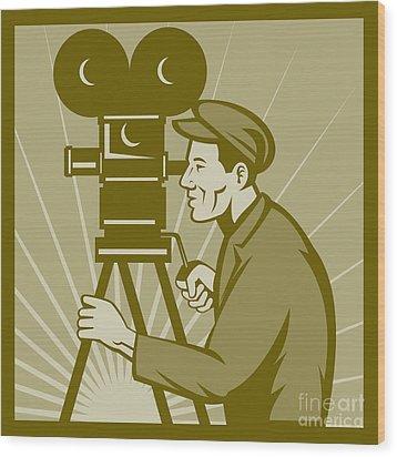 Vintage Film Camera Director Wood Print by Aloysius Patrimonio