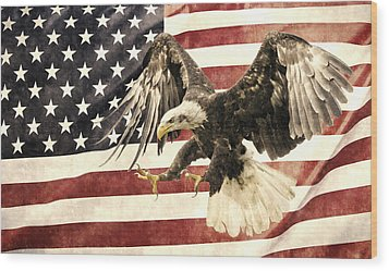 Wood Print featuring the photograph Vintage Flag With Eagle by Scott Carruthers