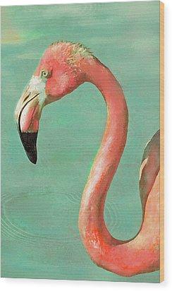 Vintage Flamingo Wood Print by Jane Schnetlage