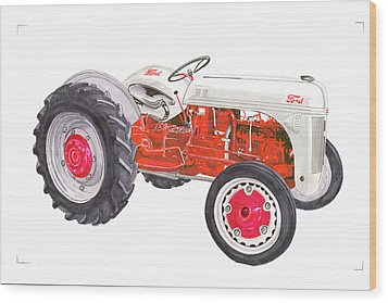 Wood Print featuring the painting Vintage Ford Tractor 1941 by Jack Pumphrey