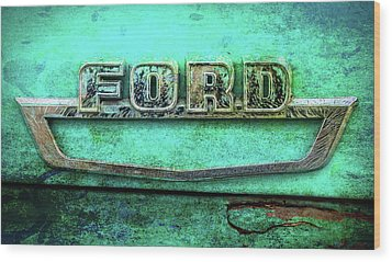Wood Print featuring the photograph Vintage Ford Truck Logo  by Terry DeLuco