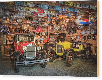 Wood Print featuring the photograph Vintage Fords Collectibles by Debra and Dave Vanderlaan