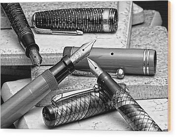Vintage Fountain Pens Wood Print