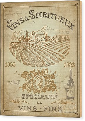 Wood Print featuring the digital art Vintage French Wine Label-jp3973 by Jean Plout
