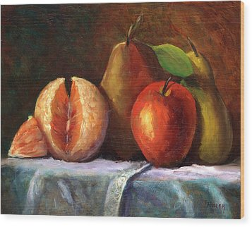 Vintage-fruit Wood Print by Linda Hiller