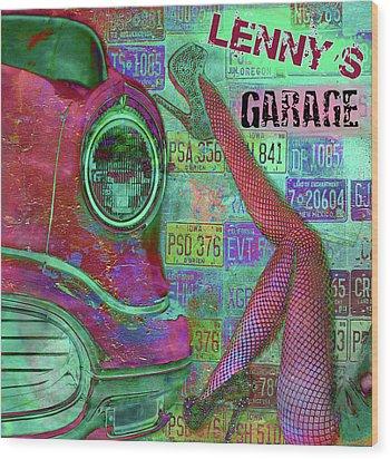 Wood Print featuring the digital art Vintage Garage Print by Greg Sharpe