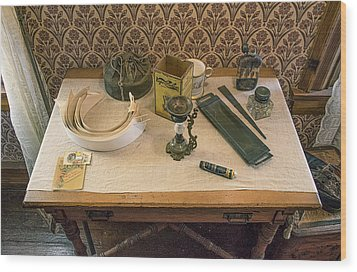 Wood Print featuring the photograph Vintage Gentlemen's Preparation Table by Gary Slawsky