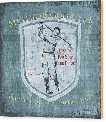 Vintage Golf Blue 1 Wood Print by Debbie DeWitt