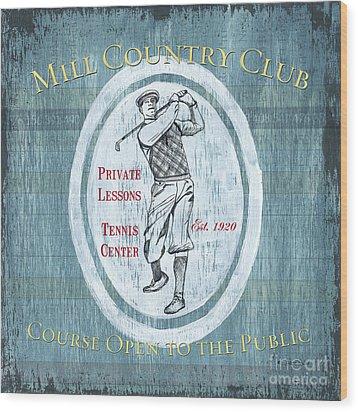 Vintage Golf Blue 2 Wood Print