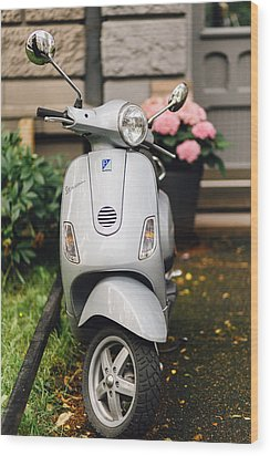 Vintage Grey Vespa,old Fashioned Italian Motorbike, Is Parked On The Street Sideway Wood Print by Aldona Pivoriene
